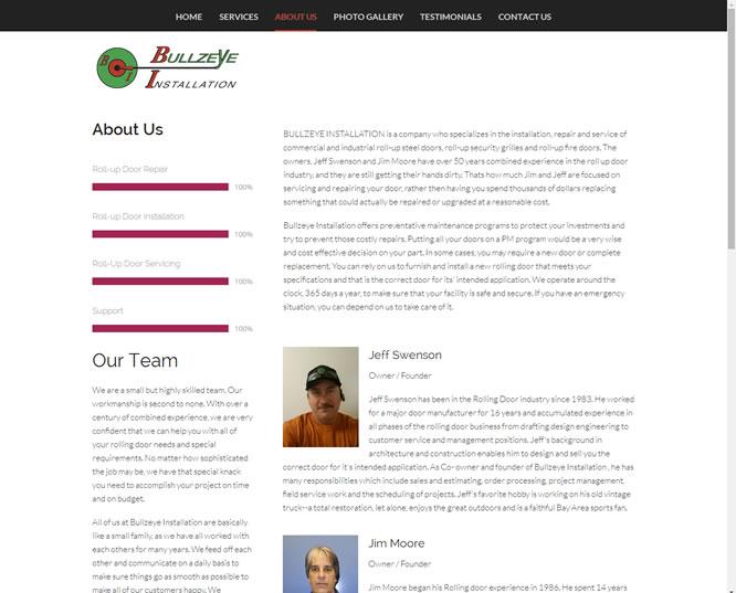 bullzeye doors   san jose web design