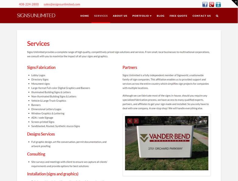 Signs Unlimited Web Design San Jose